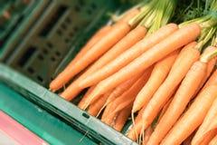 Karotten in einem Kasten Stockfoto