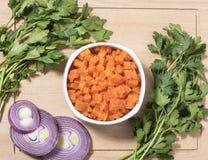 Karotten gehackt und gekocht Lizenzfreie Stockfotos