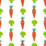 Karottenbrokkolikarikatur, nahtloser Mustervektor Stockfotografie