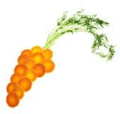 Karottenform gemacht von den Grüns und von den Stücken der Karotte Lizenzfreies Stockfoto