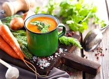 Karottensahnesuppe Lizenzfreies Stockfoto