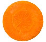 Karottenscheibe lokalisiert auf Weiß Stockfotografie