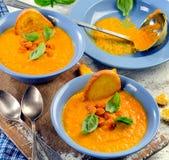 Karottensuppe mit Toast lizenzfreies stockbild