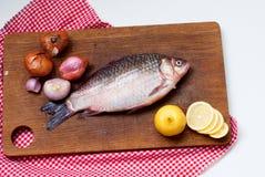 Karp för rå fisk på bräden för att klippa Fotografering för Bildbyråer