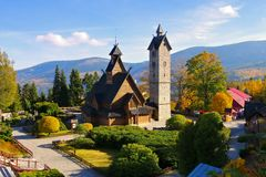 Karpacz, the church Vang. Karpacz church Vang in Giant Mountains stock image