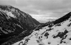 Karpaten- Berge auf einem nebeligen Tages-Trieb auf Schwarzweiss--fil Lizenzfreies Stockfoto