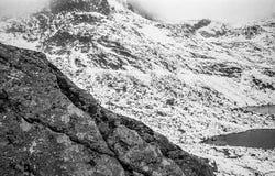 Karpaten- Berge auf einem nebeligen Tages-Trieb auf Schwarzweiss--fil Lizenzfreies Stockbild