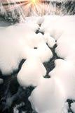 Karpatenfluß im Winter Stockfotos