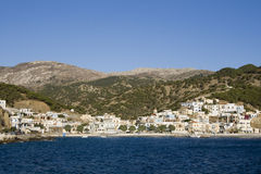 Karpathos island - Diafani, view from the sea. Diafani village is situated in a bay on  north-east coast of Karpathos. Dodecanese Islands - Greece Royalty Free Stock Photography
