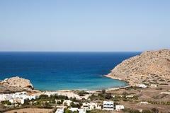Karpathos Island, the small village of Agios NiKolaos - Greece. Mediterranean coastline of Agios Nikolaos, Karpathos West Coast  - Dodecanese Islands, Greece Royalty Free Stock Image