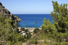 Karpathos island, panoramic view of Ahata beach in summer day. Aegean sea, Dodecanese Islands, Greece. Karpathos island is well known from amazing beaches royalty free stock photography