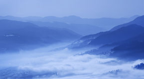 Karpatian mountains. Image  toned in blue Stock Photo