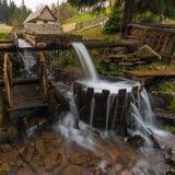 Karpatische bergen De bergrivier in het de herfstbos, ton met water Royalty-vrije Stock Foto's