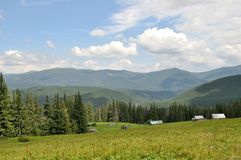 Karpatische bergen in de zomer Svydovetsketting Stock Foto's