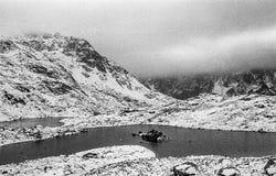 Karpatische bergen op een mistige dagspruit op zwart-witte fil Royalty-vrije Stock Afbeeldingen