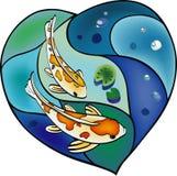 Karpervijver in de vorm van hart Stock Afbeelding