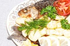 Karpfen-Flussfische brieten im Saft der Zitrone und der frischen Kräuter stockbilder