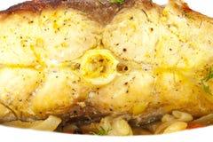 Karpfen gekocht mit Gemüse, Nahaufnahme Lizenzfreies Stockbild