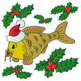 Karpfen mit Weihnachtsschutzkappe Lizenzfreies Stockfoto