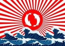 Karpfenfische yin Yang auf Japaner der roten Fahne Stockfoto