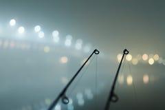 Karpfenstangen in der nebeligen Nacht Städtische Ausgabe Nachtfischen Lizenzfreies Stockfoto
