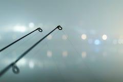 Karpfenstangen in der nebeligen Nacht Städtische Ausgabe Nachtfischen Lizenzfreie Stockbilder