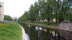 Karpovka river. Embankment of the Karpovka river Stock Photos