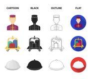 Karretje met bagage, brandkast, zwembad, koppeling Pictogrammen van de hotel de vastgestelde inzameling in beeldverhaal, zwarte,  vector illustratie