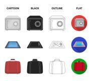 Karretje met bagage, brandkast, zwembad, koppeling Pictogrammen van de hotel de vastgestelde inzameling in beeldverhaal, zwarte,  stock illustratie