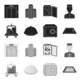 Karretje met bagage, brandkast, zwembad, koppeling Pictogrammen van de hotel de vastgestelde inzameling in zwart, zwart-wit stijl stock illustratie