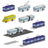 Karretjebus, tram, bus en schoolbus stock illustratie