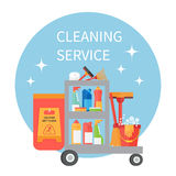 Karretjehoogtepunt van het schoonmaken van levering en de hulpmiddelen van het huishoudenmateriaal Vector pictogrammen Stock Afbeelding