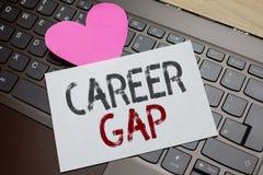 Karriär Gap för ordhandstiltext Affärsidé för a-plats var i dig stoppa att arbeta vid din pappersromantiker för yrket för ett tag royaltyfri bild