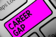 Karriär Gap för ordhandstiltext Affärsidé för a-plats var i dig stoppa att arbeta vid din tangentbordpurpl för yrket för ett tag royaltyfri bild