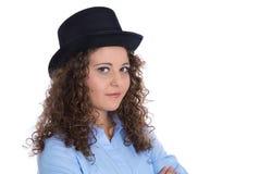 Karriärbegrepp: affärskvinna som isoleras i en ledande position fotografering för bildbyråer