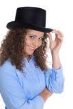 Karriärbegrepp: affärskvinna som isoleras i en ledande position royaltyfri foto