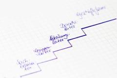 Karriärstege - grafisk väg för ledare och personal med tysk arkivfoton