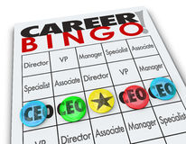 Karriere-Bingo bricht Generaldirektor CEOs Position ab Stockfotos