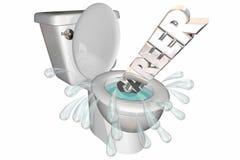 Karriere-Job Working Future Flushed Down-Toilette Lizenzfreie Stockbilder