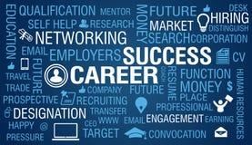 Karriere u. Job Success Concept auf blauem Hintergrund Stockfotos