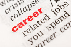 Karriere-Wort-Definition lizenzfreie stockbilder