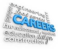 Karriere-Wort-Hintergrundaufträge 3d wählen Beruf Lizenzfreie Stockbilder