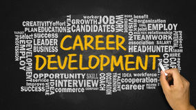 Karriereentwicklung mit in Verbindung stehender Wortwolken-Handzeichnung auf Schwarzem Stockfotos