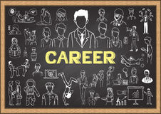 Karrieregekritzel auf Tafel Stockfotos