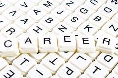 Karrieretext-Wortkreuzworträtsel Alphabetbuchstabe blockiert Spielbeschaffenheitshintergrund Weiße alphabetische WürfelBlockschri Lizenzfreies Stockbild