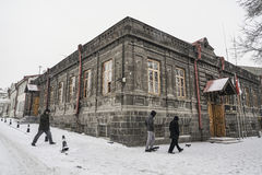 Kars city of Turkey under snow during winter. Royalty Free Stock Photo