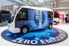 KARSAN electric bus. Hannover, Germany - Sep 23, 2016: Turkish company KARSAN presents electric buses at the IAA Commercial Vehicles 2016 International Trade royalty free stock photography