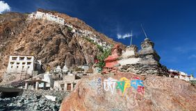 Karsha gompa - buddhist monastery in Zanskar valley Royalty Free Stock Images