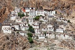 Karshagompa - boeddhistisch klooster in Zanskar-vallei stock fotografie