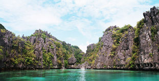 Karst cliff landscape in El Nido. Beautiful landscape that is found in El Nido, philippines, panoramic image Stock Image
